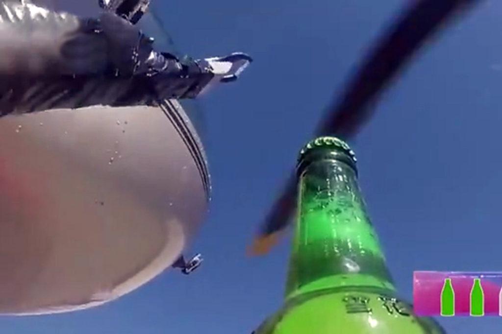 Откупоривание пивных бутылок вертолетом
